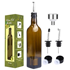 Aozita 17oz Glass Olive Oil Bottle Set - 500ml Dark Brown Oil & Vinegar Cruet with Pourers and Funnel - Olive Oil Carafe Decanter for Kitchen