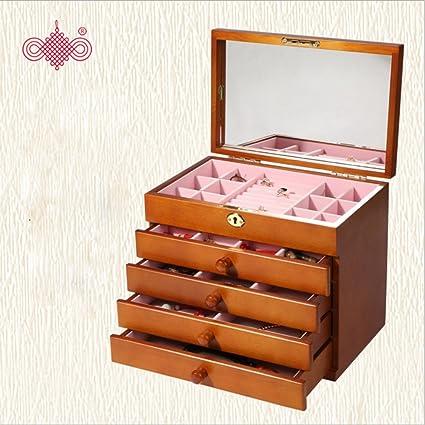 YHFED Caja Joyero De Madera,Caja Joyero Organizador para Bisuterías Joyería con Cajones,Caja