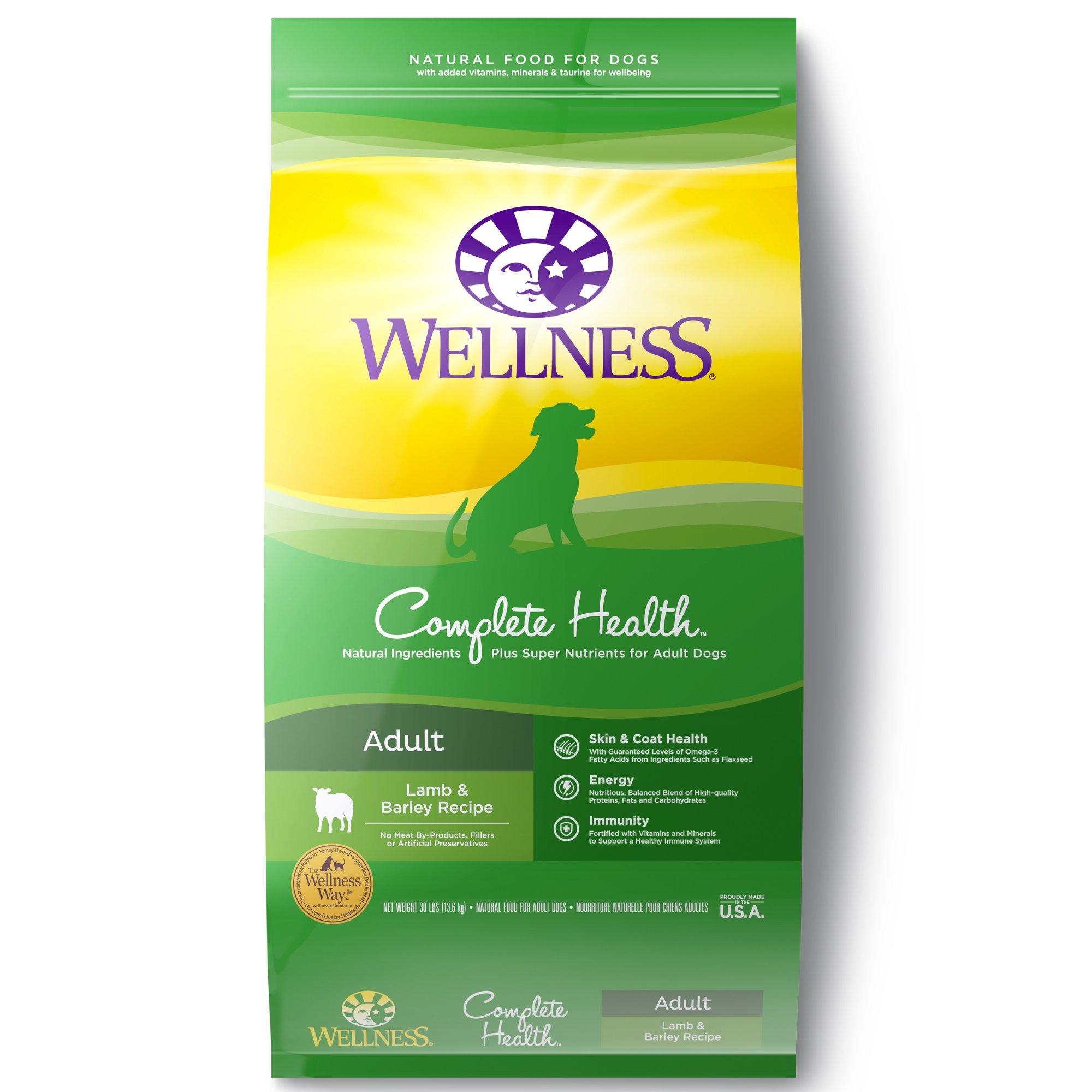 Wellness Complete Health Natural Dry Dog Food, Lamb & Barley, 30-Pound Bag