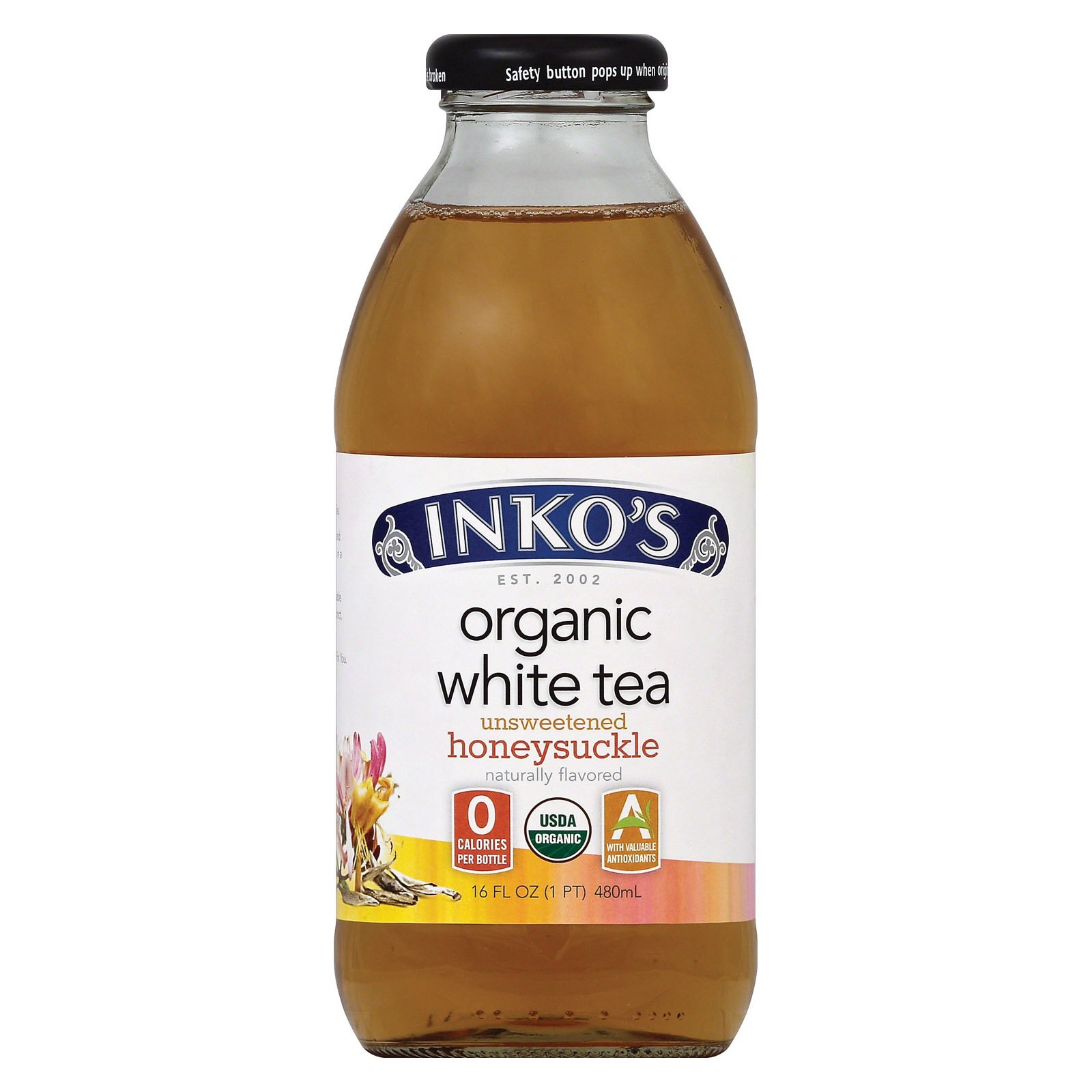Inko's White Organic White Tea - Unsweetened Honeysuckle - Case of 12-16 Fl oz.