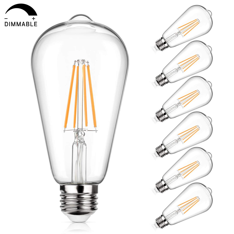Vintage LED Edison Bulb 100W Equivalent 1100 Lumens, Dimmable 10W ST64 LED Filament Light Bulbs, Warm White 2700K, E26 Medium Screw Base, Pack of 6