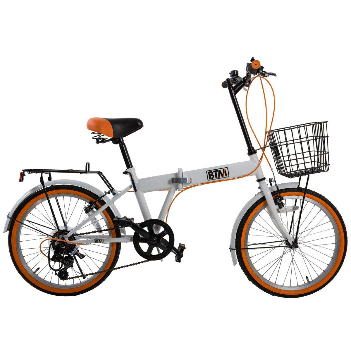 (BTM) 折りたたみ自転車 自転車 20インチ シマノ6段変速 カゴ標準付き 荷台付き 鍵ライト付 バイク 通勤 通学 街乗り PL保険付 【一年安心保障】 B071WJXNZ7 ホワイト+オレンジ ホワイト+オレンジ