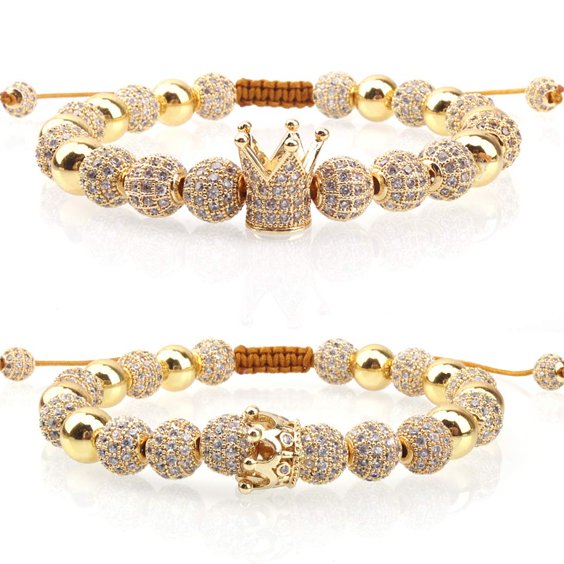 Massive Beads Luxury CZ Imperial Crown Braided Copper Bracelets with 8mm Micro Pave Cubic Zirconia Beads Pulseira Bangle Charm Jewelry