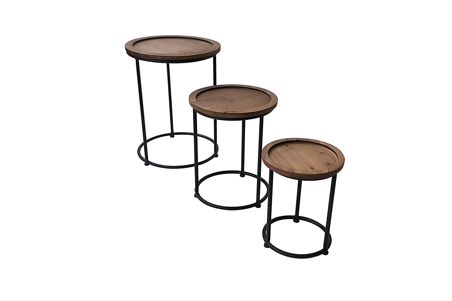 Scandi Round Nest of Tables (Set of 3) Slate & Rose