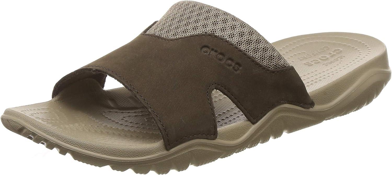 Crocs Swiftwater Leather Slide Men, Zapatos de Playa y Piscina para Hombre