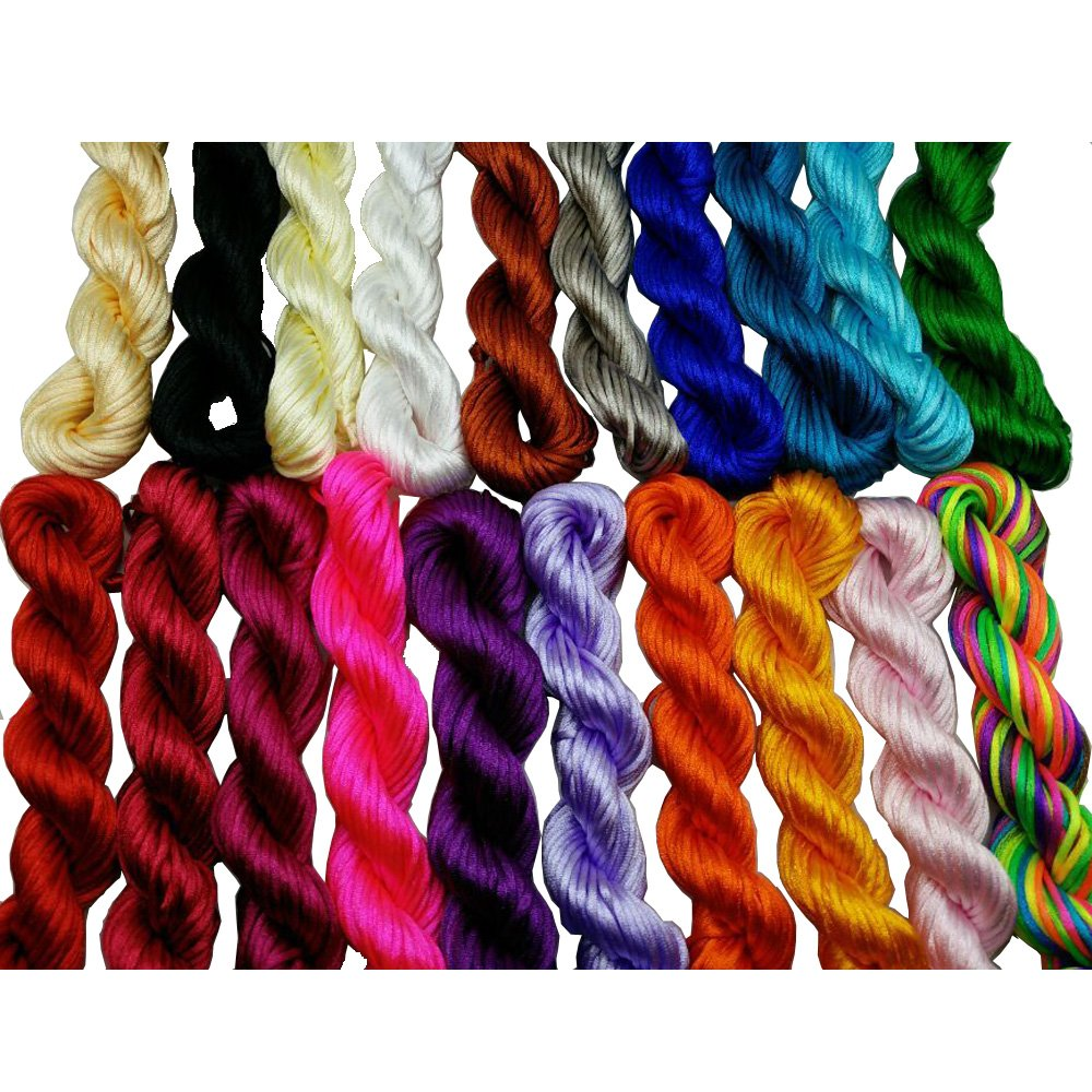 Pamir Tong Full-Colors 20bundles 300 Yards 1.5mm Satin/Rattail Silk Cord for Necklace Bracelet Beading Cord GD20C73