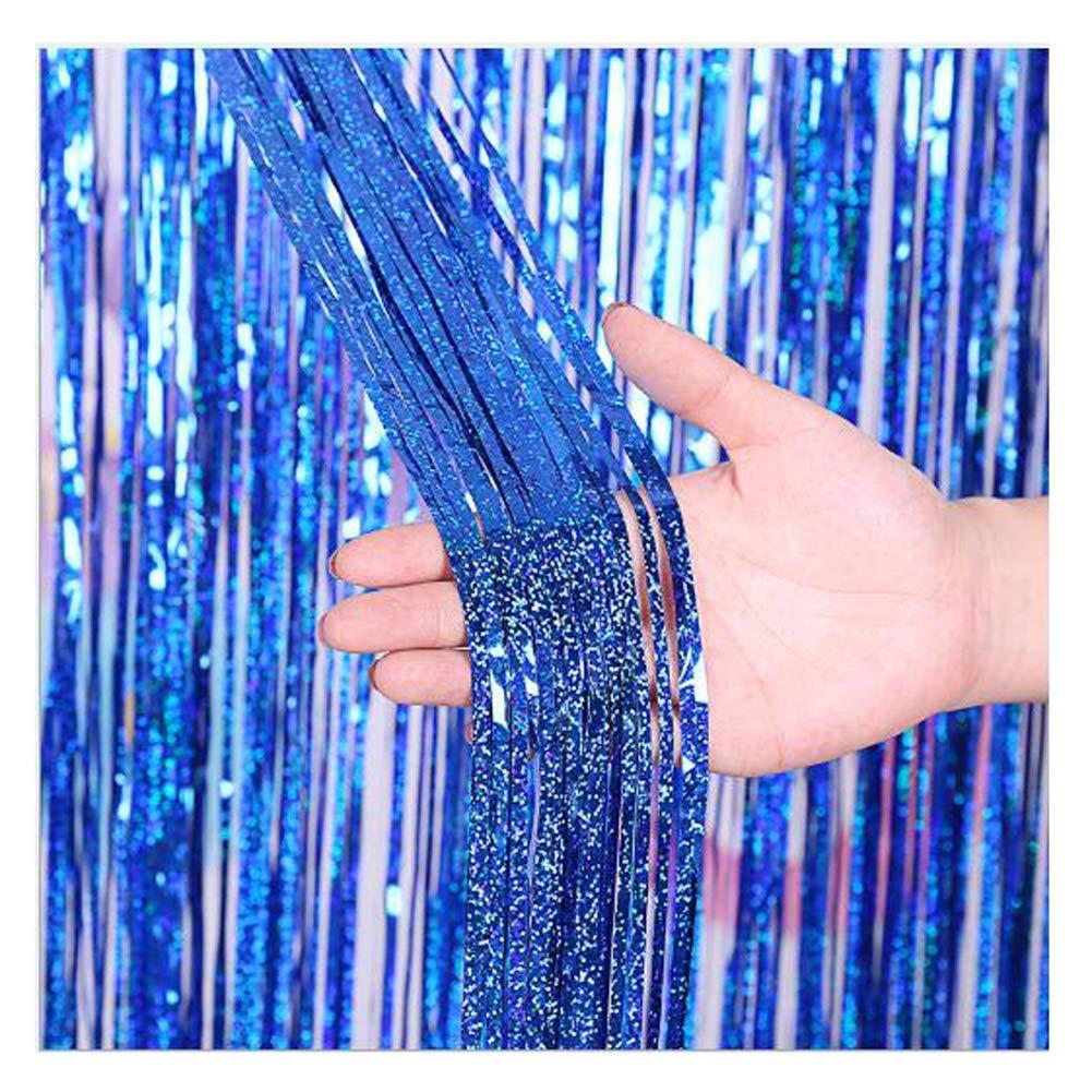 CENFRY 10pcs/lot 3MX1M Fashion Background Laser Rain Curtain DIY for Birthday Wedding Holiday Party Wall Decoration (Royal Blue)