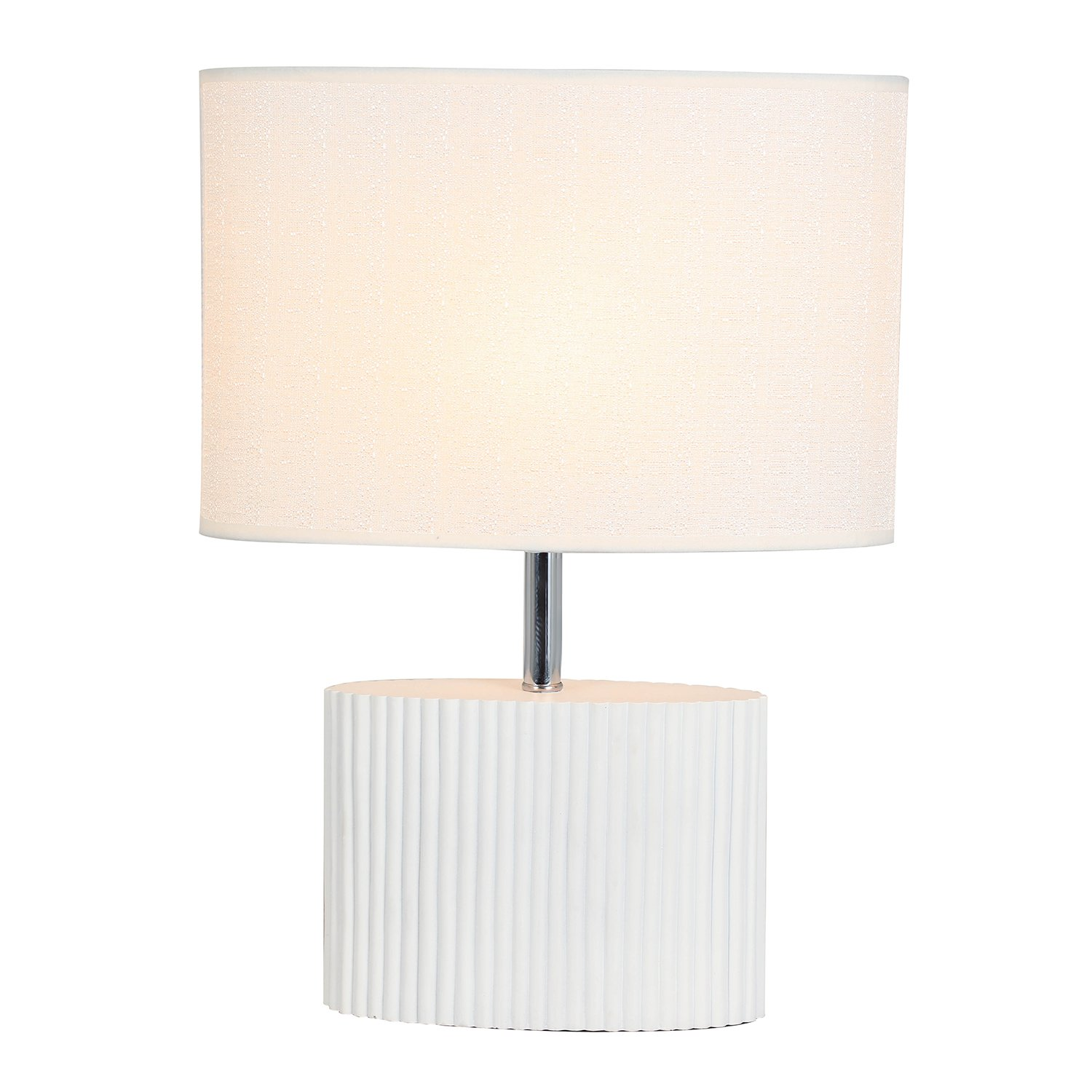 Decorative Table Lamp, HOMPEN Bedside Desk Lamp with White Resin Base and Fabric Shade, Night Light for Living Room, Bedroom, Dresser, College Dorm-White