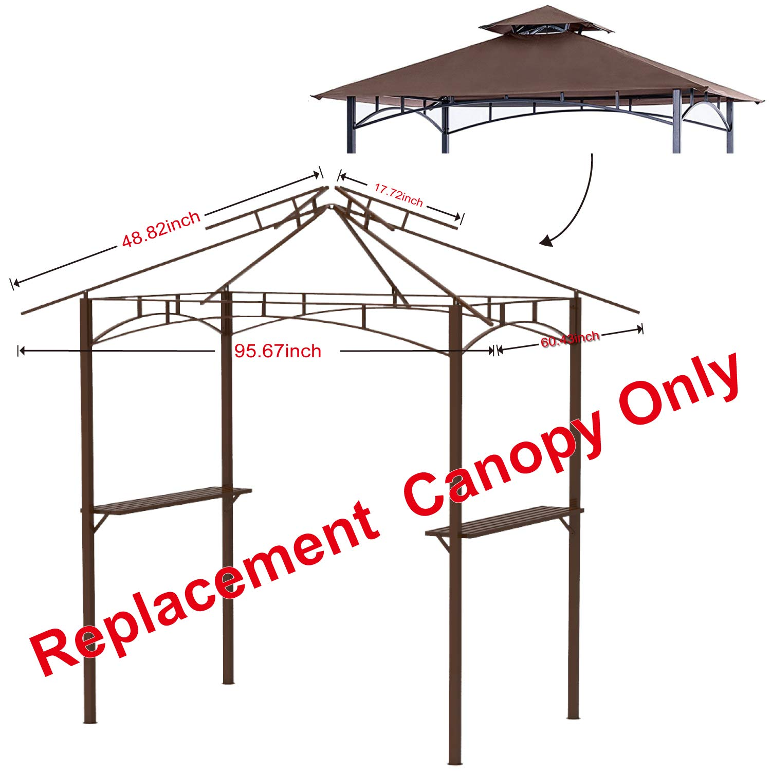 ABCCANOPY Grill Shelter Replacement Canopy roof for Model L-GZ238PST-11 brown