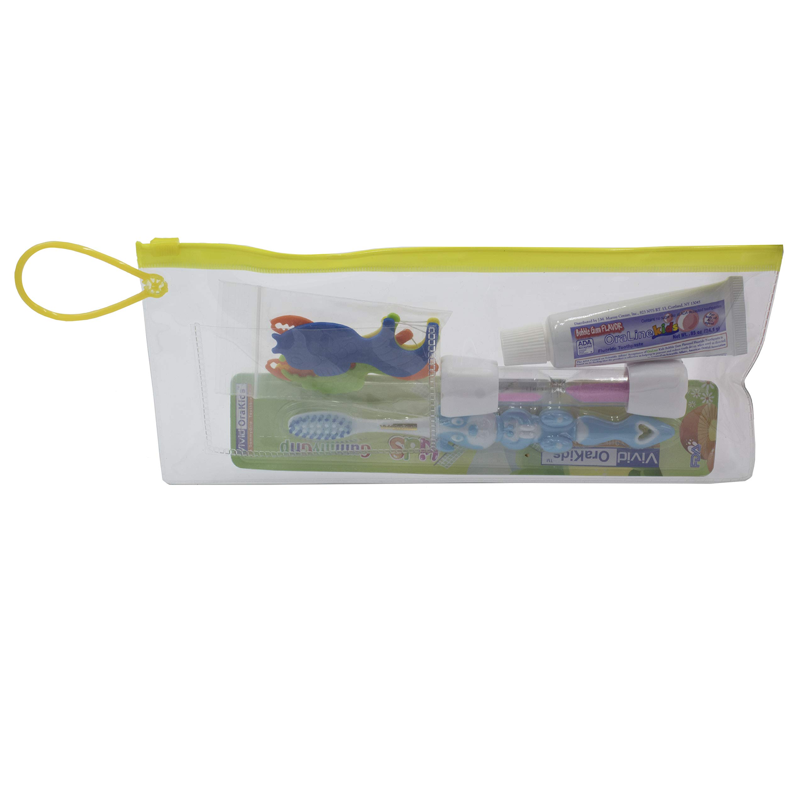 Dental Patient Giveaway or Travel Kit, Container zipper color may vary between Yellow, Pink, Blue, Green OR Red Color (Kids, Pack of 30)