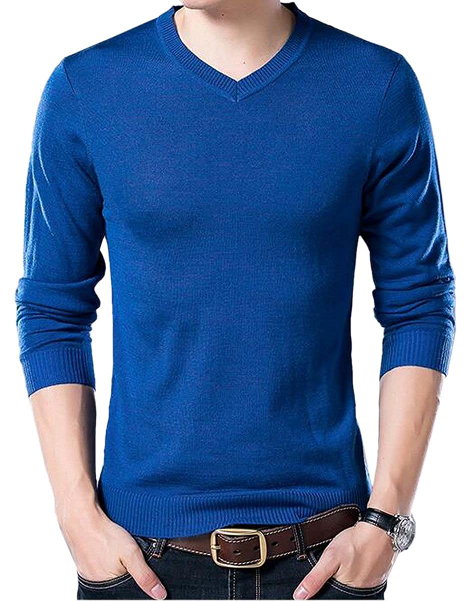 Jmwss QD Men Winter Leisure Knit Thin Pullover Thermal V-Neck Sweater