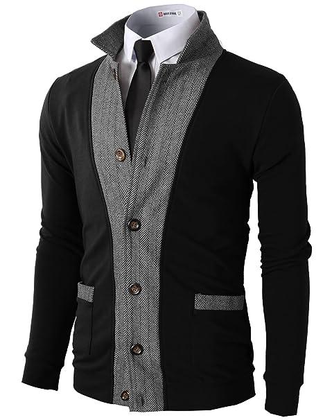a936dbe57d61 H2H Mens Two-Tone Herringbone Jacket Cardigans Black US S/Asia M (JLSK03