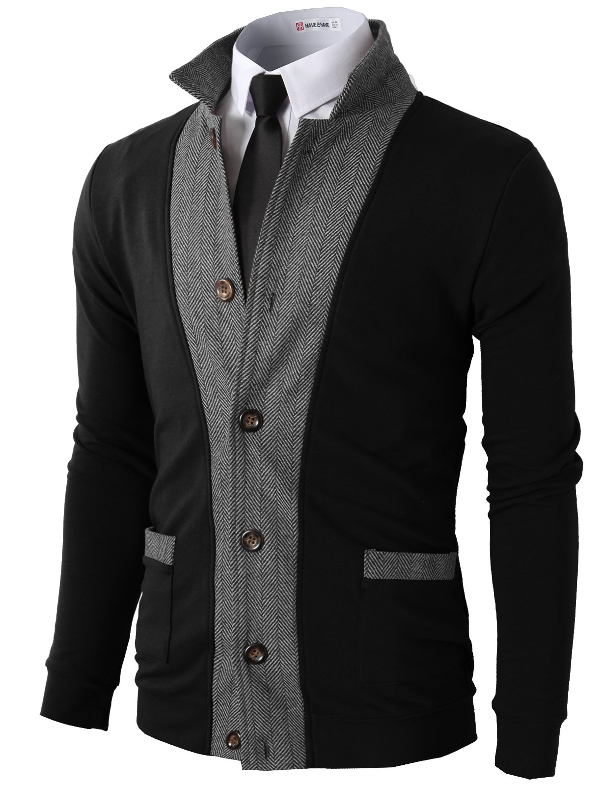 H2H Mens Two-tone Herringbone Jacket Cardigans BLACK US M/Asia L (JLSK03)
