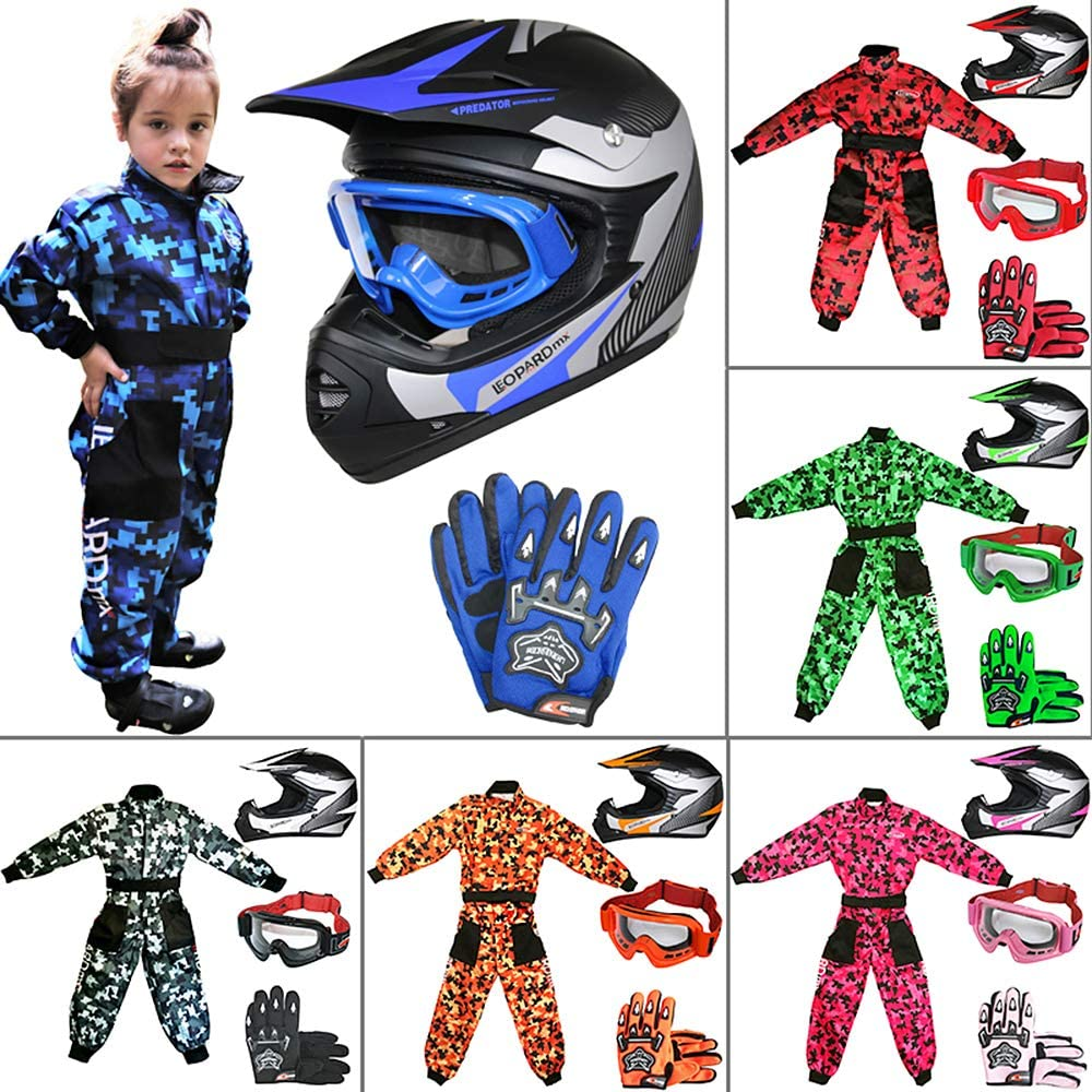 Leopard LEO-X19 PREDATOR { Kids Motocross Helmet /& Gloves /& Goggles Pink L } Child Dirt Bike Motorocycle Helmet Clothing Suit L 9-10 Yrs