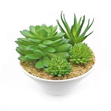 Unechte Topfpflanze, The Perseids Künstliche Deko Blumen Gefälschte  Kunststoff Fleischige Grün Pflanze Realistisch Künstlichen Sukkulenten