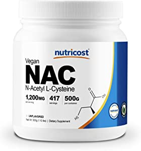 Nutricost N-Acetyl L-Cysteine (NAC) Powder 500 Grams - Vegan NAC, Non-GMO, 417 Servings