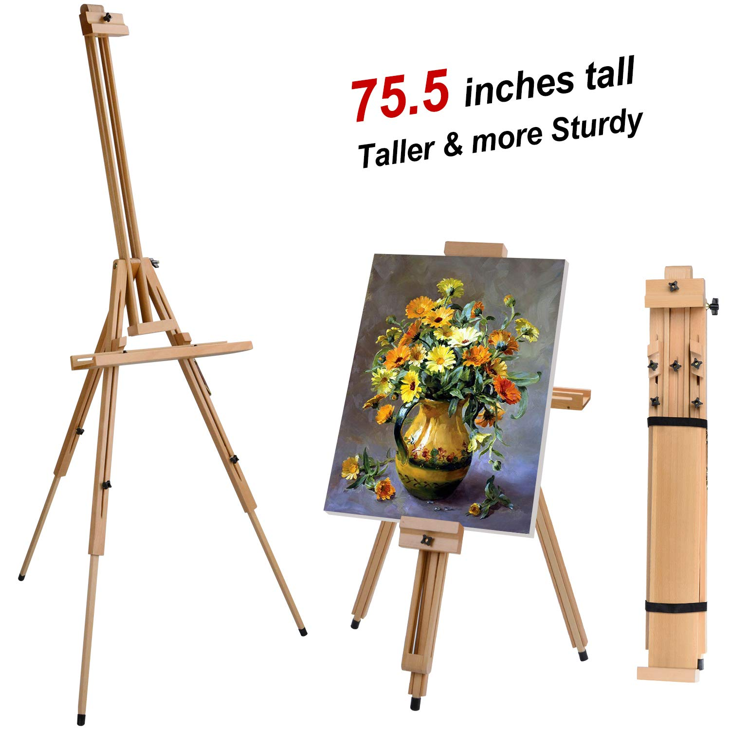 T-SIGN Wood Painting Easel Stand, Portable Art Floor Tripod Beech Easel, Foldable Design, Adjustable Height 36.5 to 75.5 Inches, Adjustable Large Tray for Painting, Sketching, Display by T-SIGN