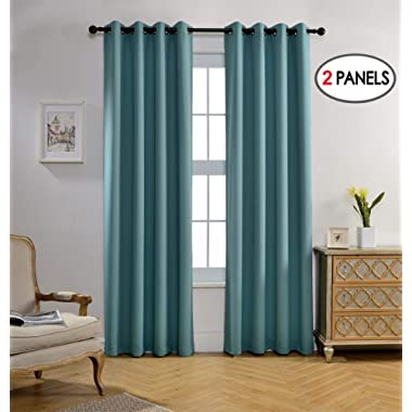 Miuco Blackout Curtains Room Darkening Curtains Textured Grommet Window Curtains for Living Room 2 Panels 52x84 Inch Long Teal