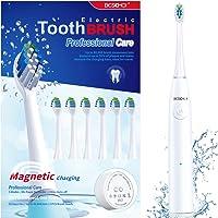 Cepillo de Dientes Eléctrico, BESCHOI Cepillo Dental Electrico Sónico Recargable con 6 Cabezales 5 Modos Impermeable IPX7 Carga Magnética USB, Blanco