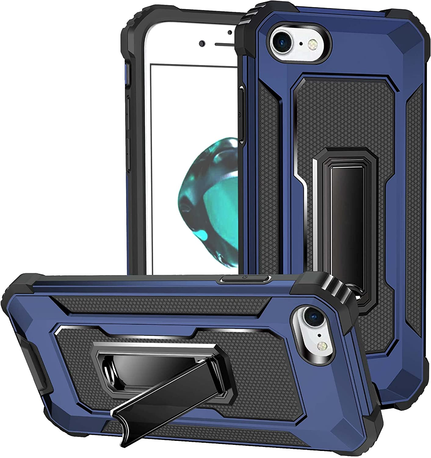 """AENLIG for iPhone 8 Plus Case, iPhone 7 Plus Case, iPhone 6s/ 6 Plus Case, Military Grade Heavy Duty Armor Shockproof Anti-Drop with Built-in Kickstand for iPhone 6/6s/7/8 Plus 5.5"""" (Dark Blue)"""
