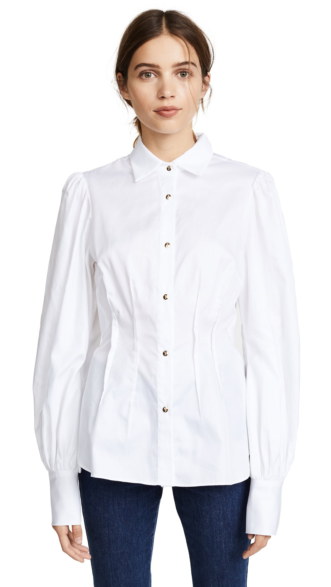 Petersyn Women's Waverly Blouse, White Superfine Twill, X-Small