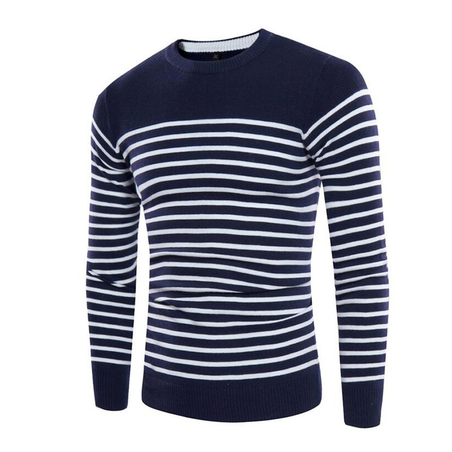 Cheryl Bull Trendy Knitted Sweaters O-Neck Jumper Men's Cotton Pullover Knitting White Black Navy Grey Striped Sweater Wine RedX-Large