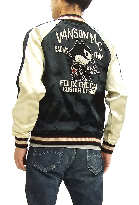 (バンソン) vanson スカジャン FXV-721 フィリックスザキャット Felix メンズ スーベニアジャケット B07DT1G8WJ   XL