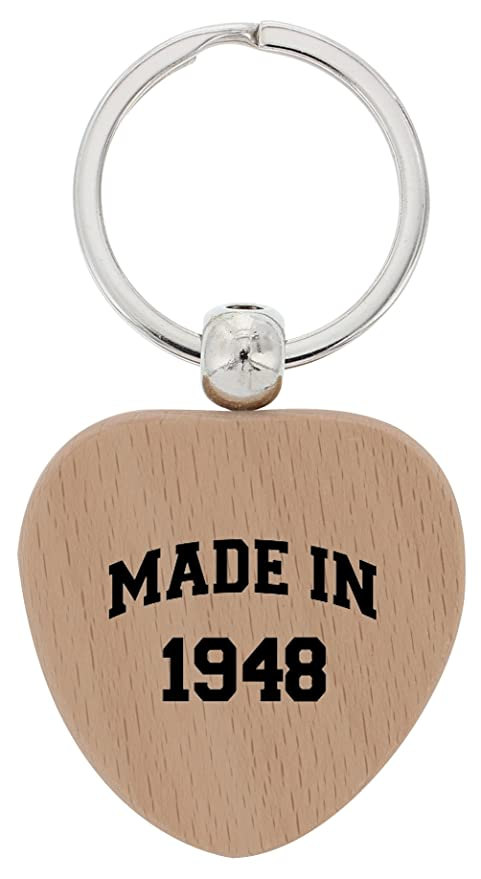 70th Birthday Gifts For Grandma Made In 1948 Wood Heart Keychain Key Tag