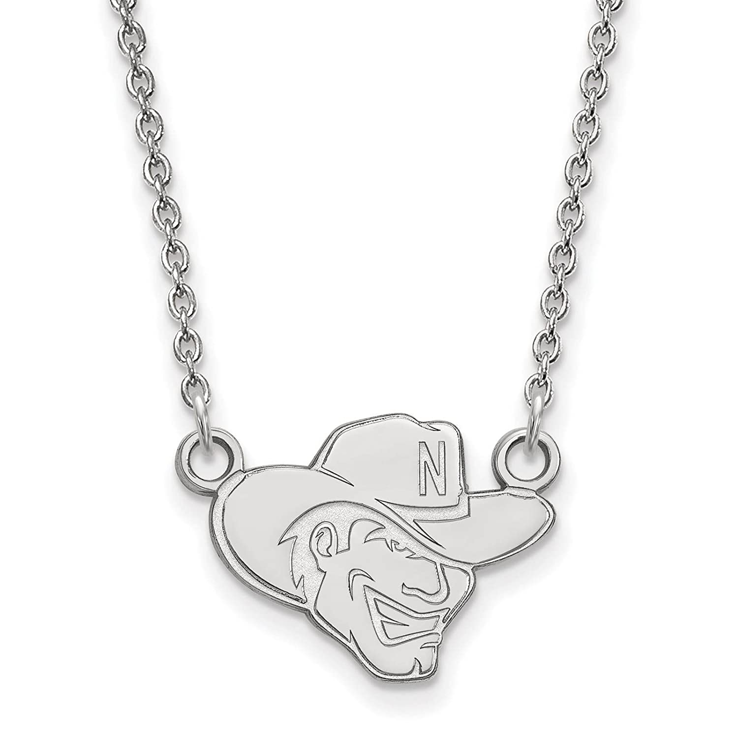 925 Sterling Silver Rhodium-plated Laser-cut University of Nebraska Small Pendant w//Necklace 18