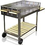 Acciaio inossidabile BBQ Flash con ruote, barbecue a carbonella Barbecue con carrello con 6000cm² superficie grill/145x 92x 60cm regolabile in altezza