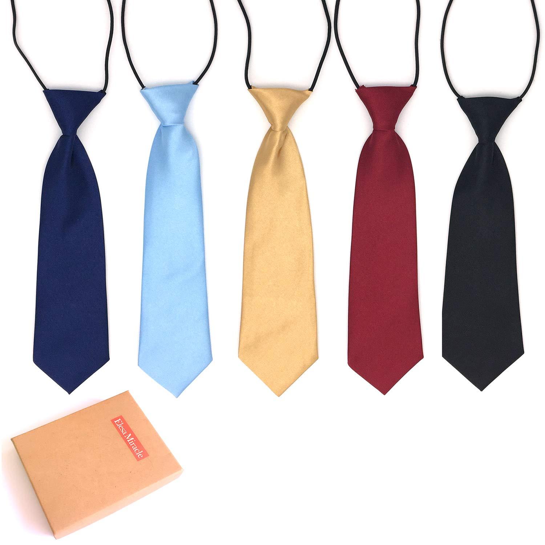 Elesa Miracle Boys Pre-tied Elastic Neck Strap Tie Little Boys Necktie Value Set of 5 (Set C)