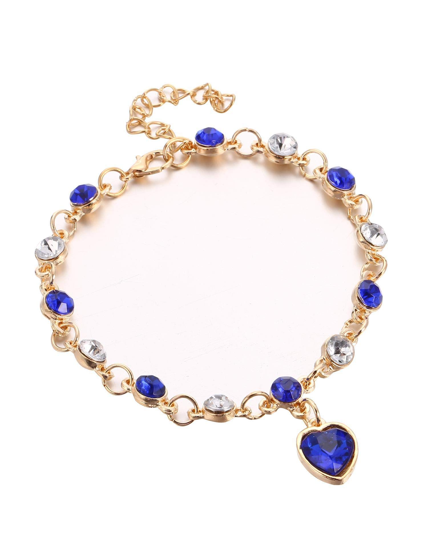 Bracelets Jewelry Love Heart Pendant Rhinestone Crystal Rose Gold Plated Bracelet for Women Girls for Her