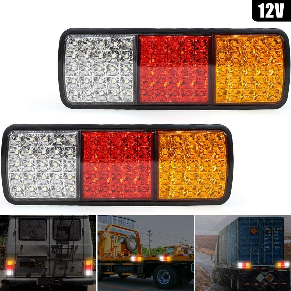 2x20 Lampade di Freno Luce Bianco Arancione Rosso Justech Paio Luci Posteriori LED Indicatori Direzione Fanale Universale per 12V 24V Auto Camion Rimorchio Caravan