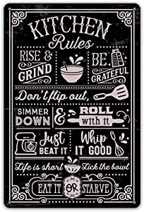 QIONGQI Funny Kitchen Quote Metal Tin Sign Wall Decor Kitchen Rules Sign for Home Kitchen Coffee Shop Decor Gifts