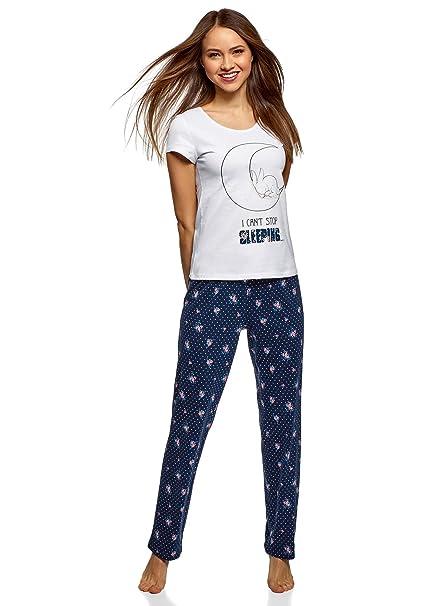 oodji Ultra Mujer Pijama de Algodón con Pantalones, Azul, ES 42 ...