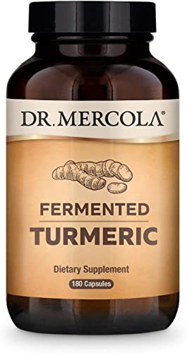 Dr. Mercola Organic Fermented Turmeric Dietary Supplement, 90 Servings 180 Tablets , Non GMO, Gluten Free, Soy Free