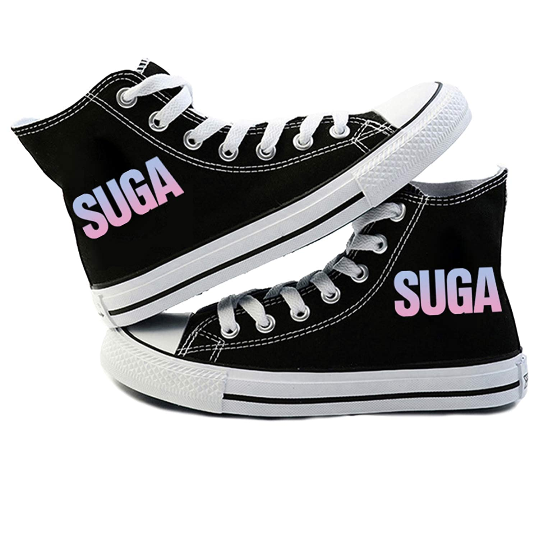 JUNG KOOK Kpop BTS Love Yourself Sneakers SUGA Jimin J-Hope Black Canvas Shoes