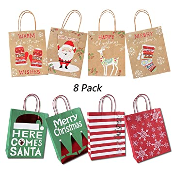 Christmas Gift Bags, A Set of 8pcs Kraft Paper Bags with Christmas Print, Xmas Goody Bags with...