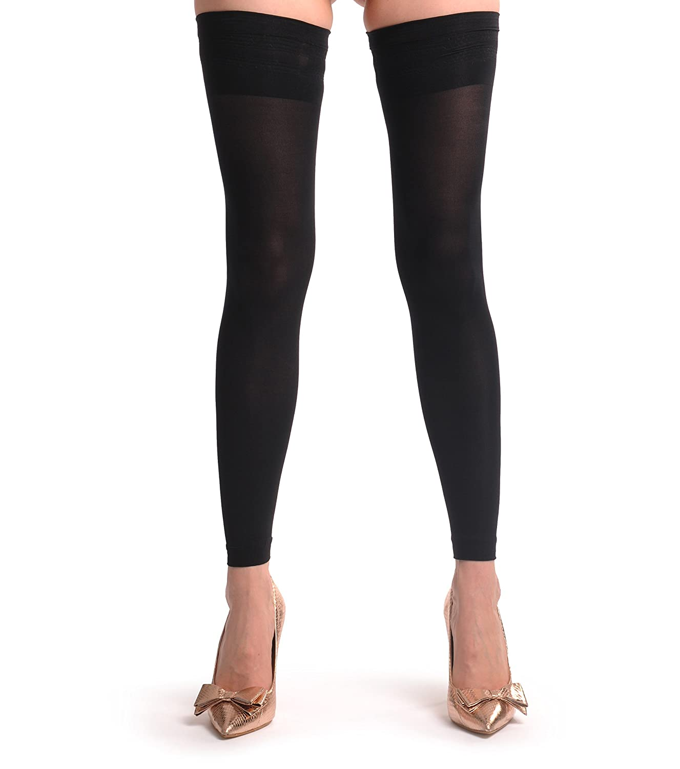 c377e104685 Sexy Black Footless Hold Ups With Silicon Top - Black Designer Hold Ups   Amazon.co.uk  Clothing