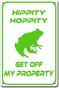 TGDB Hippity Hoppity Get Off My Property Frog No Tresspassing Novelty Sign Aluminum Metal Tin Sign Plate Aluminum Caution Metal Sign