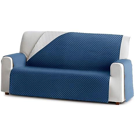 Jarrous Funda Cubre Sofá Práctica Modelo Reversible Guadalaviar, Color Azul-Gris Claro, Medida 1 Plaza de 55cm Respaldo