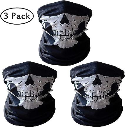 Kany 3 Stück Premium Sturmmaske Totenkopf Schwarz Skull Maske Sturmmaske Ghost Für Motorrad Fahrrad Ski Paintball Gamer Karneval Kostüm Skull Maske Sport Freizeit