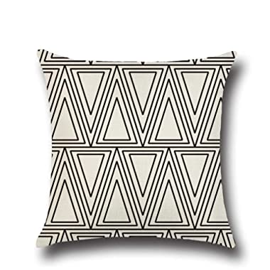 Normor Clearance! Vintage Simple Geometric Style Throw Pillow Cover Case Soft Linen Burlap Square Decorative Cushion Cover, 18 x 18 Inches (Waves)