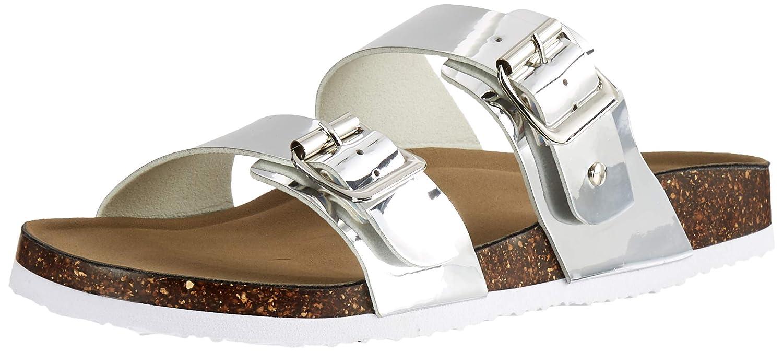 59610e7c4e1 Madden Girl Women's Brando Slide Sandal, Silver Metallic, 10 M US