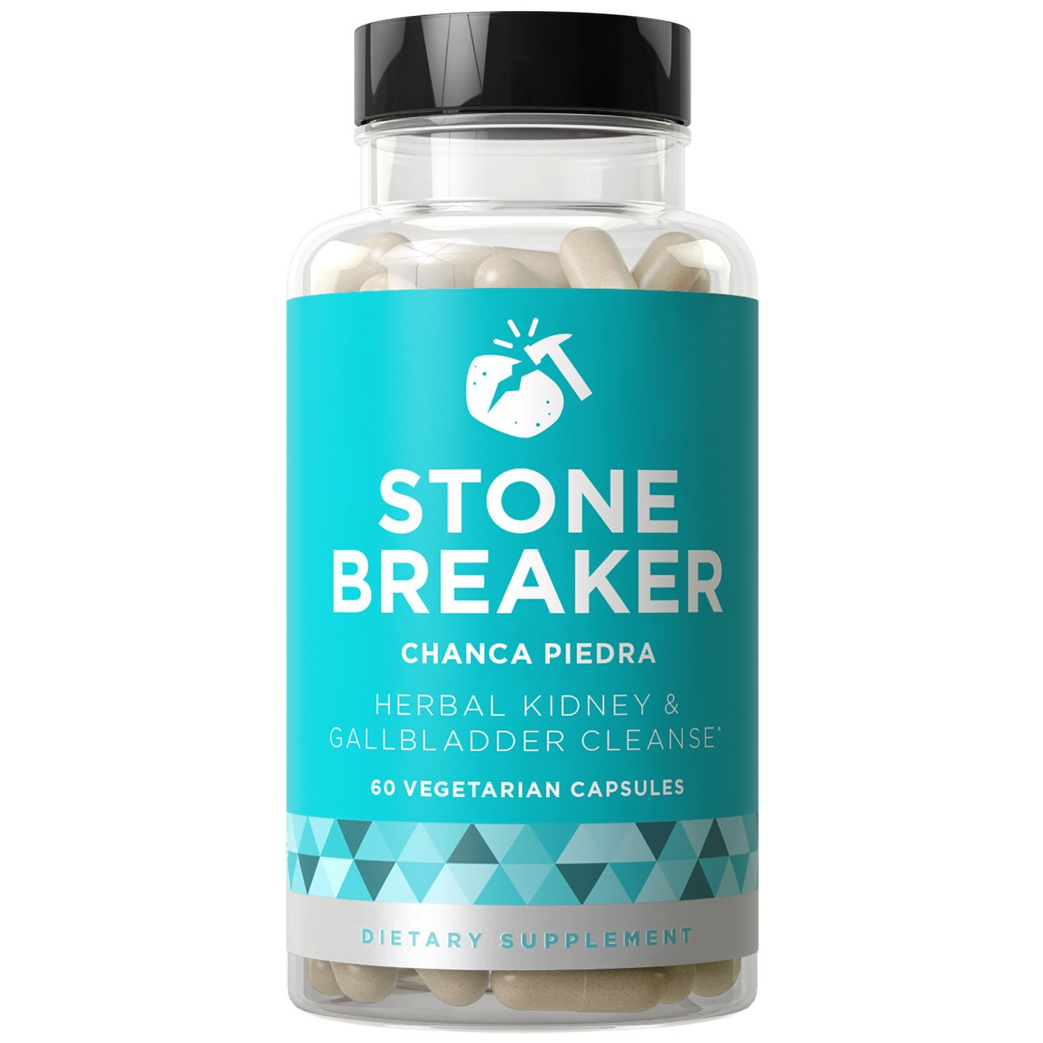 STONE BREAKER Chanca Piedra - Kidney Detoxifying Cleanse and Gallbladder Protection - Fact-acting Strength - Discomfort, Nausea, Urinary System - Hydrangea & Celery Seed - 60 Vegetarian Soft Capsules