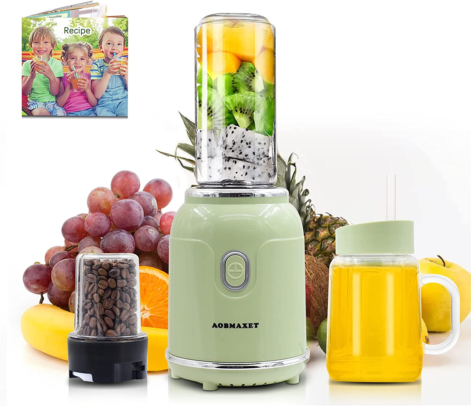 Smoothie Blender - Personal Blender with Recipe, Coffee Grinder, Travel Cup (18/20 Oz ), Professional Smoothie Maker for Shake, Spices, Fruit and Bean Coffee, 300W, Green