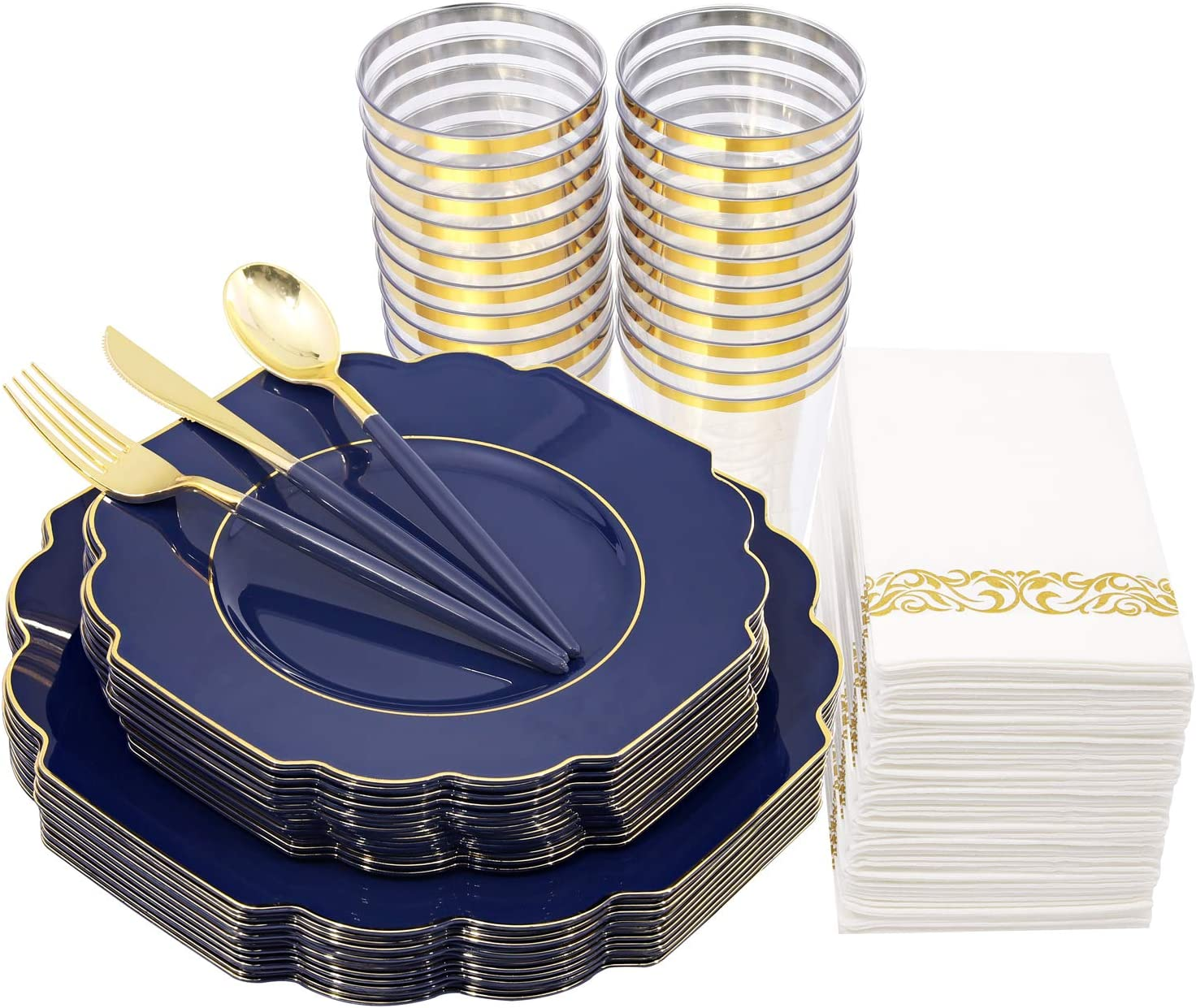 Nervure 140pcs Blue Plastic Plates & Gold Plastic Silverware with Blue Handle - Gold Disposable Plates Include 40Plates, 20Forks, 20Knives, 20Spoons, 20Cups, 20Napkins - Perfect for Christmas& Parties