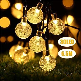 Weihnachtsbeleuchtung Außen Für Große Bäume.Lichterkette Außen Led Solar Lichterkette 30 Warmweiß Kristall Kugel 6 5 Meter Außerlichterkette Deko Für Garten Bäume Terrasse Weihnachten