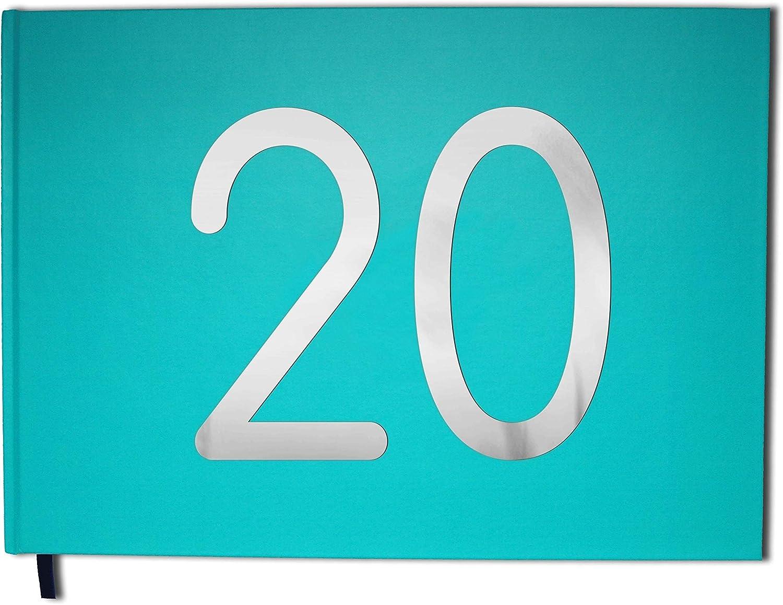 Souvenirs 20 Ans Lettres chrom/ées -100 Pages Couverture Mate Anniversaire Qualit/é Premium UTTSCHEID Livre dor Bleu Paysage