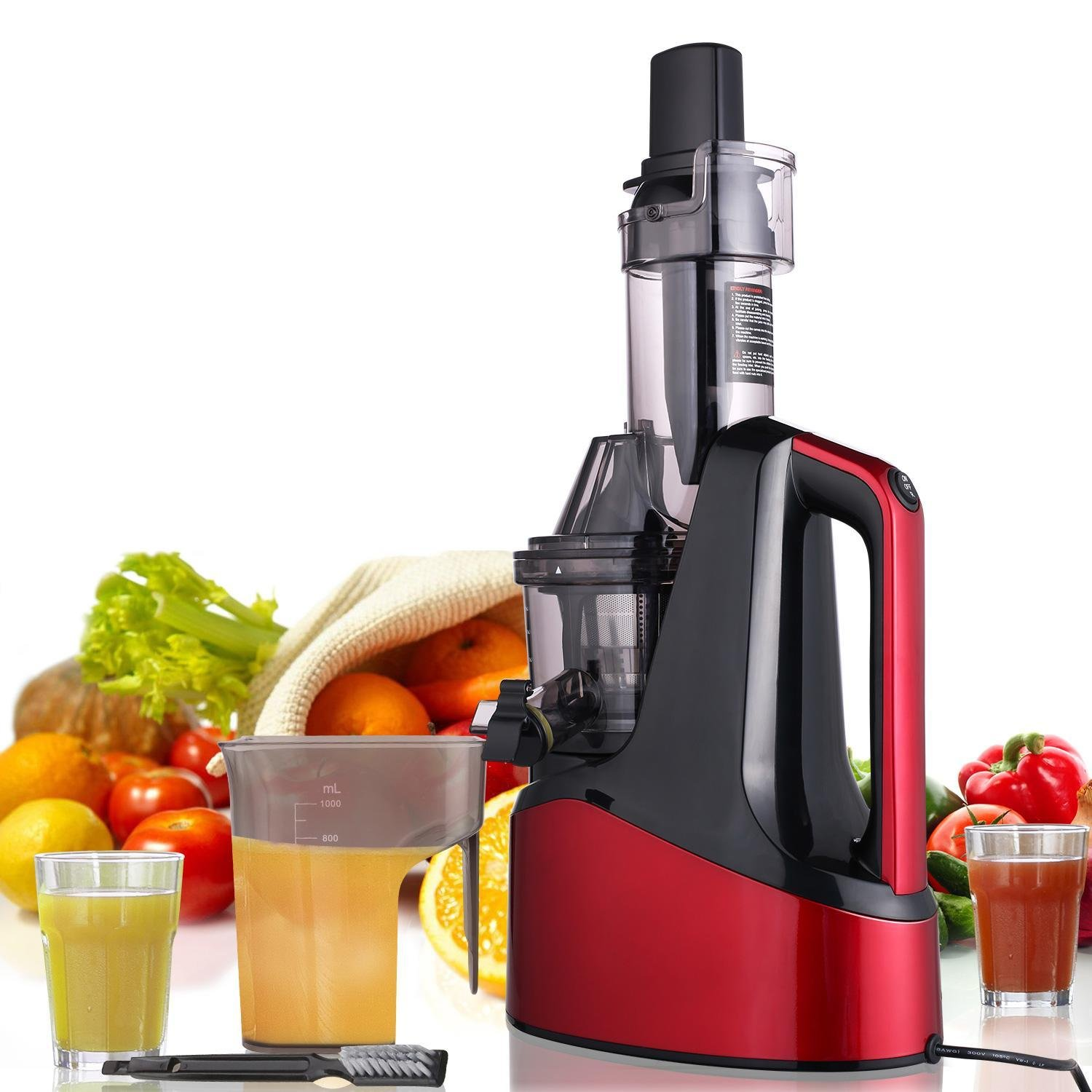 Slow Masticating Juicer Extractor, Cold Press Juicer Machine (240W AC Motor, 60 RPMs) with 76 mm Wide Mouth, Reverse Function with Juice Jug and Brush